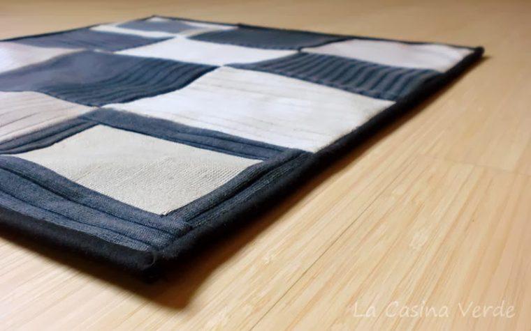 Mini quilt con stoffa di riciclo
